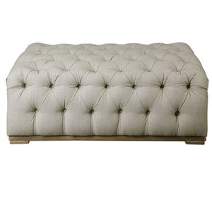 Button Tufted Ottoman in Linen