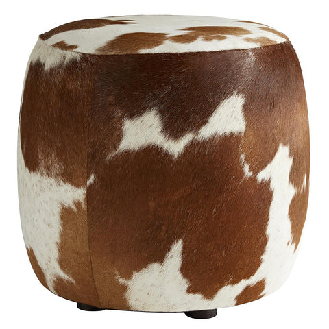 Arteriors Owen Hair on Hide Drum Ottoman – Varied Colors & Patterns