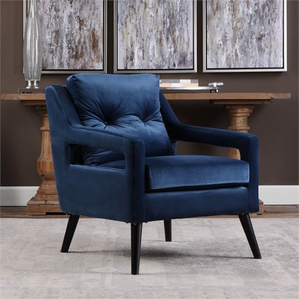 Open Arm Lounge Chair — Navy Blue