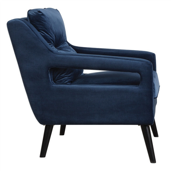 Open Arm Lounge Chair Navy Blue Scenario Home