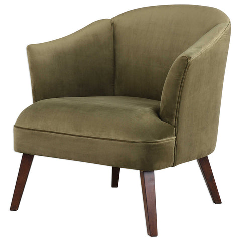 Barrel Back Chair with Tapered Legs – Olive Green