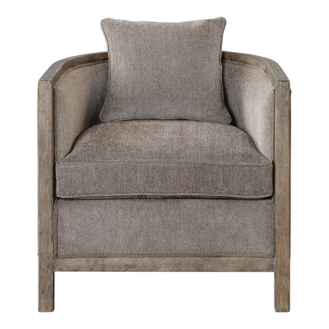 Weathered Hardwood Accent Chair - Grey Chenille