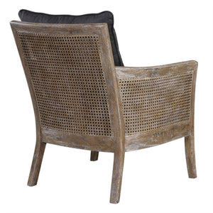 Cane Sided Arm Chair with Cushions