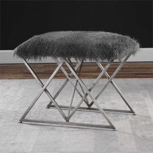 Small Faux Fur Bench - Grey Tones