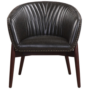 Modern Black Faux Leather Accent Chair with Nail Head Trim