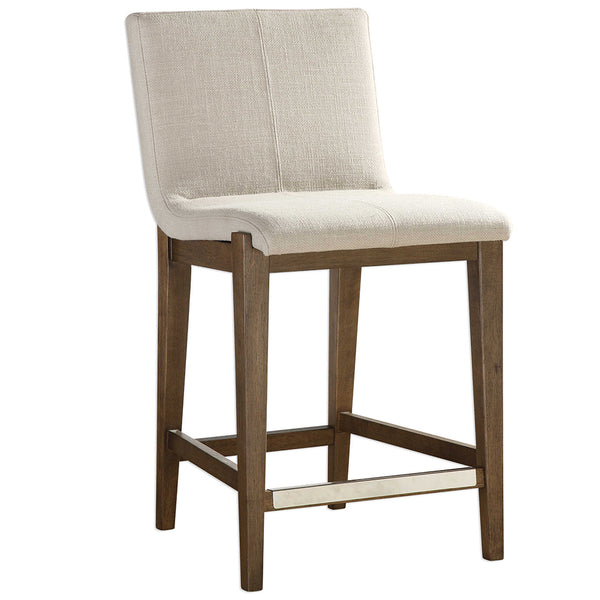 Modern Birch Wood Counter Stool — Neutral Linen Fabric