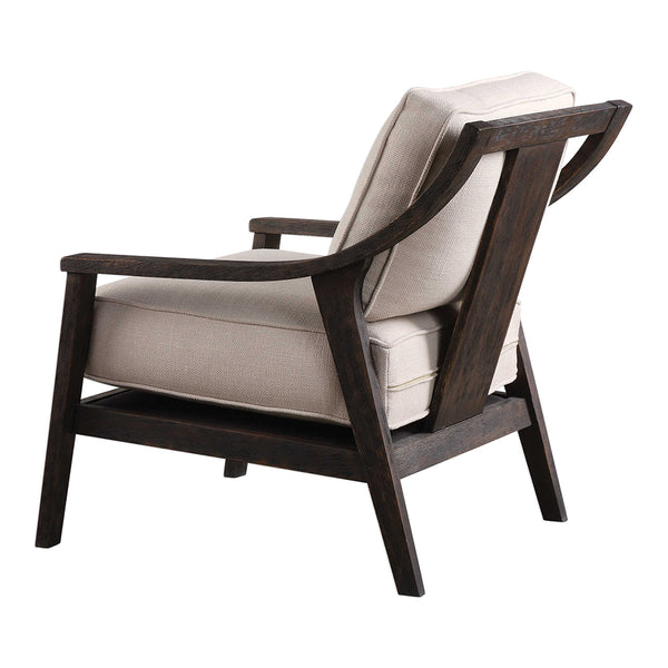 Modern Open Back Beige Accent Chair with Wood Frame