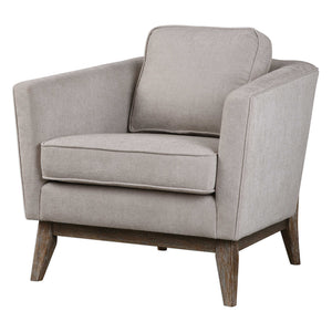 Beige Linen Accent Chair with Wood Frame