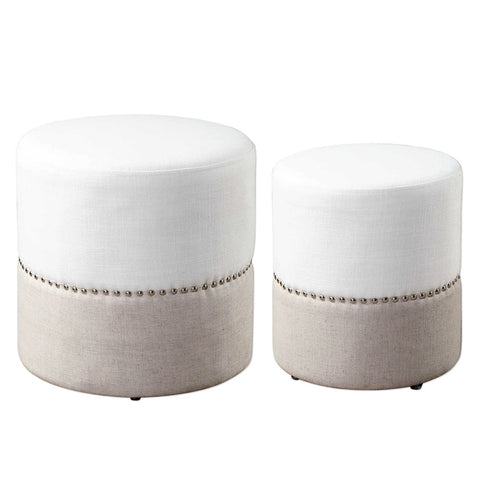Two-Tone Round Nesting Ottomans with Nailhead Trim – Set of 2