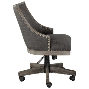Charcoal Linen Upholstered Swiveling Desk Chair with Nailhead Trim