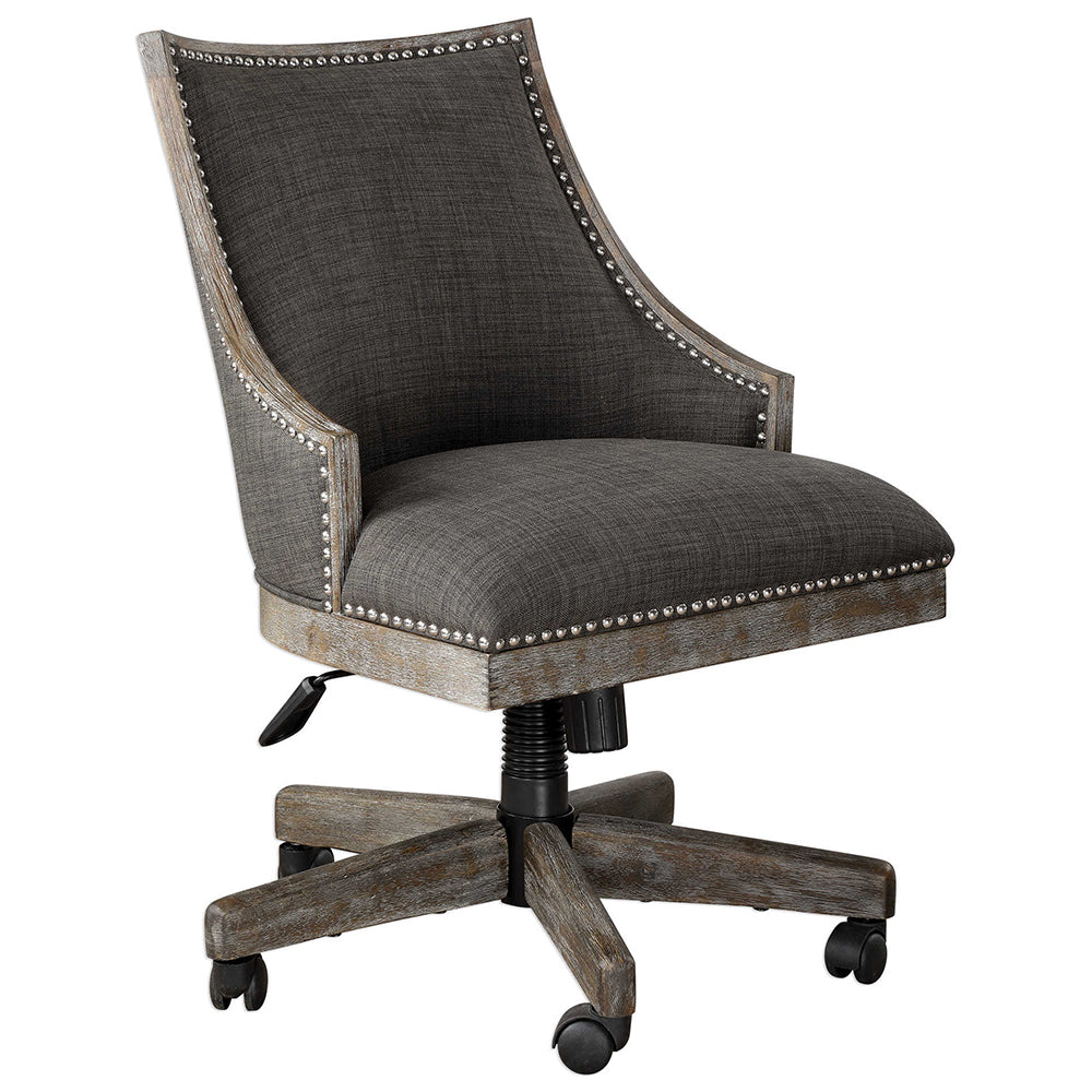 Charcoal Linen Upholstered Swiveling Desk Chair With Nailhead Trim Scenario Home