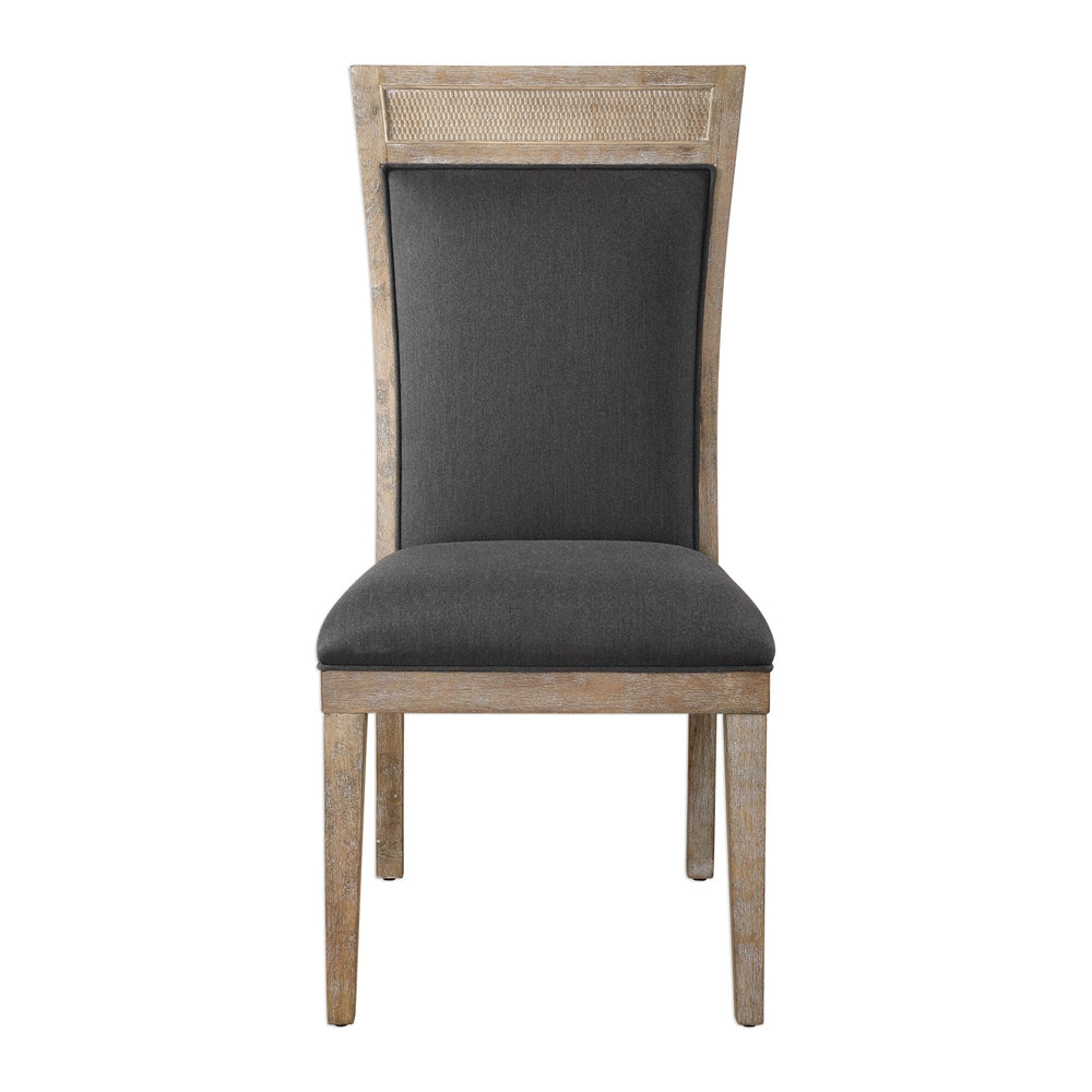 High Back Armless Chair With Cane Accent U2013 Dark Grey