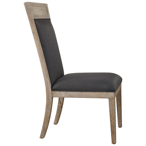 High Back Armless Chair with Cane Accent – Dark Grey