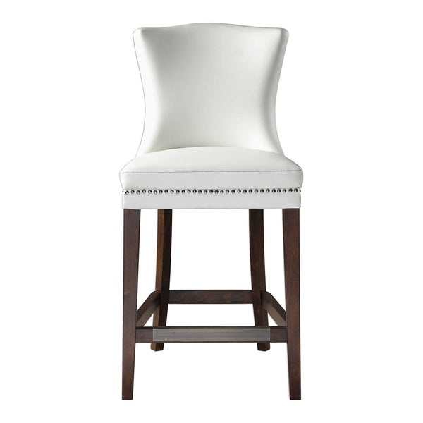 Faux Leather Counter Stool with Nailhead Trim – Off White & Dark Walnut