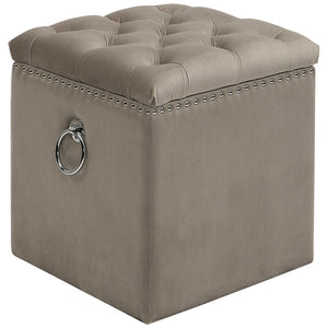 Tufted Storage Ottoman with Polished Nickel Accents