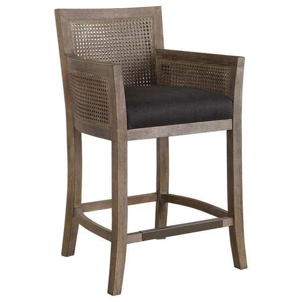 High Back Cane Sided Counter Stool with Grey Upholstery