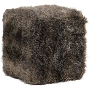 Plush Faux Fur Ottoman – Charcoal Brown