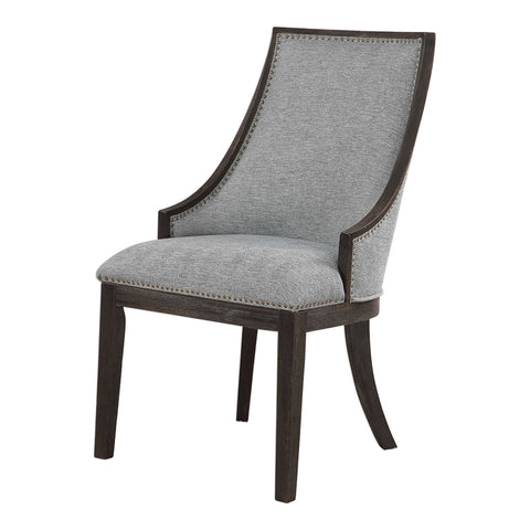 Curved Back Accent Chair in Light Denim with Brass Nailhead Trim
