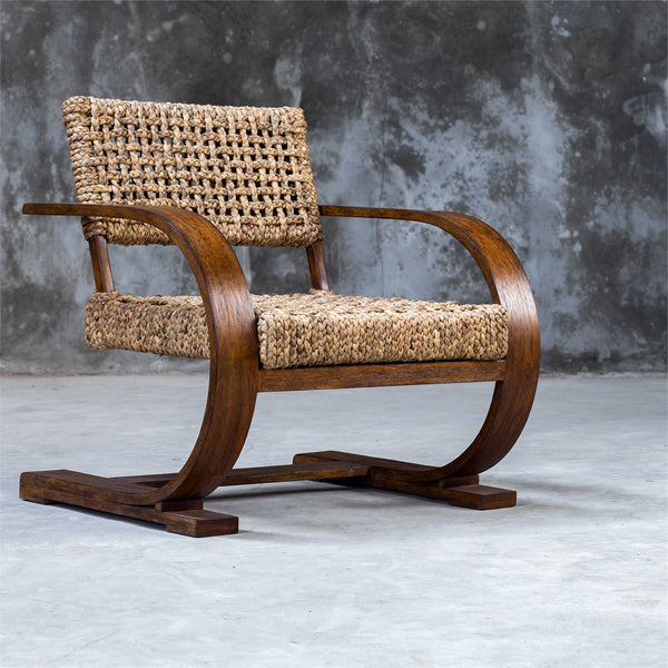 Teak Veneer Curved Frame Chair with Woven Fiber Seat