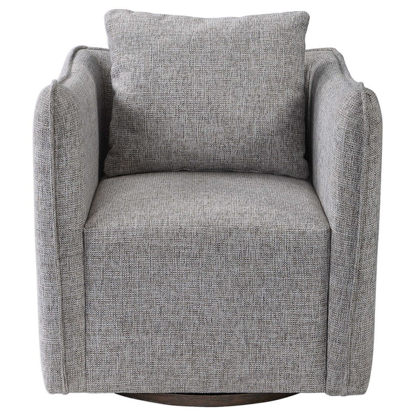 Stone Linen Swivel Arm Chair