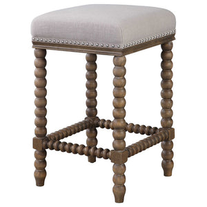 Backless Counter Stool with Spindle Turned Legs & Nailhead Trim