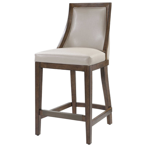 Faux Pebbled Leather Counter Stool with Solid Wood Frame