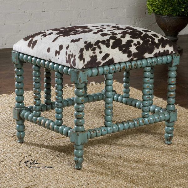 Chahna Faux Pony & Aqua Bench - Small