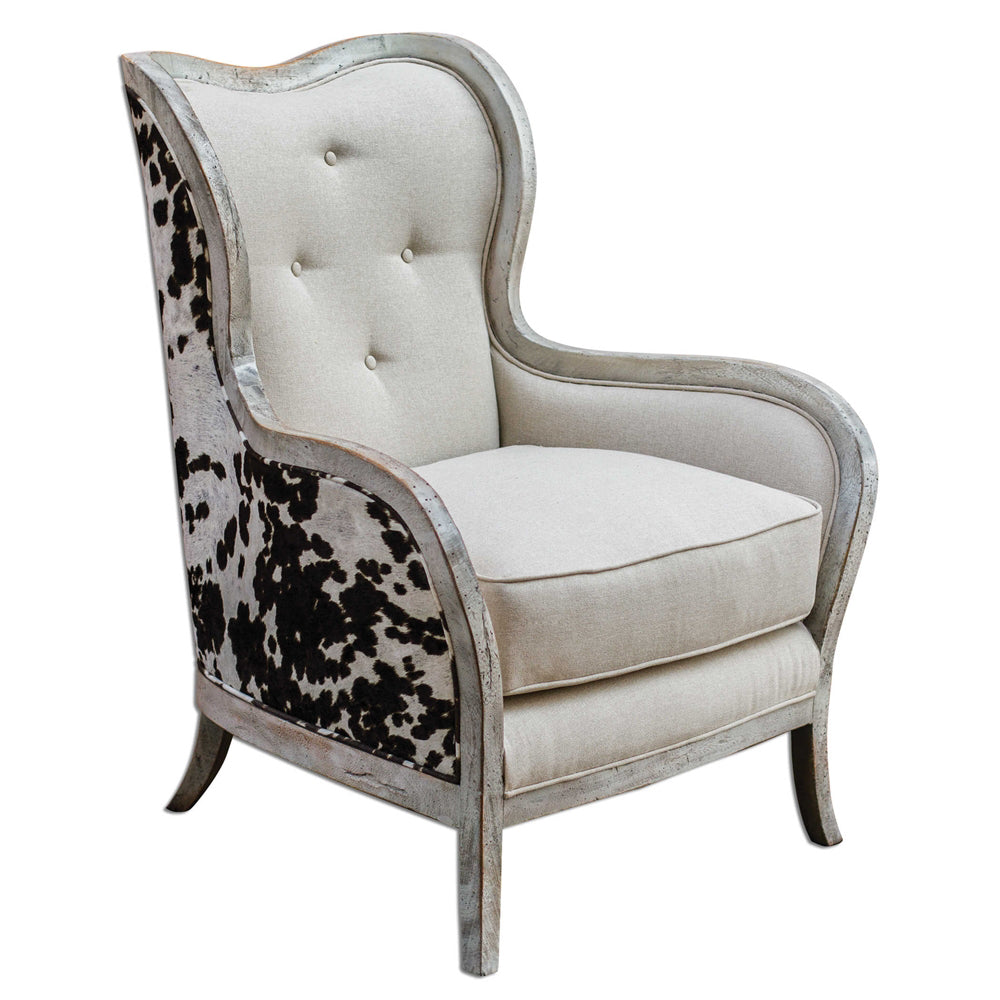Chalina Brown & White Faux Pony Arm Chair