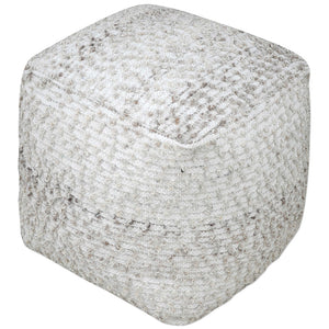 Square Cotton and Wool Pouf Ottoman - Gray