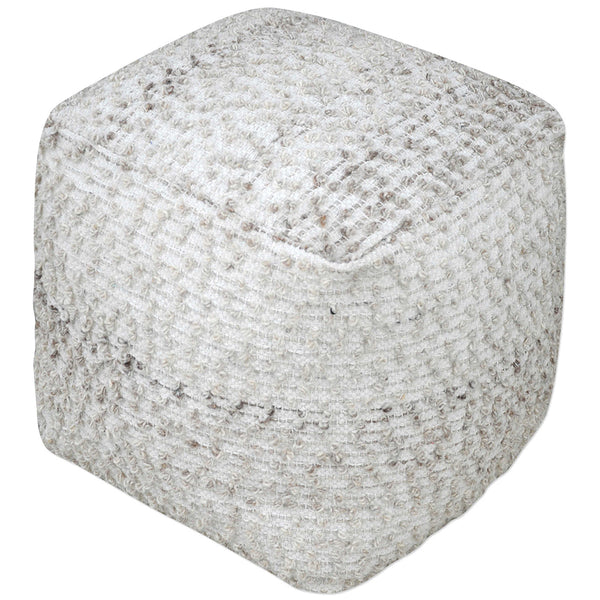 Square Cotton and Wool Pouf Ottoman – Gray