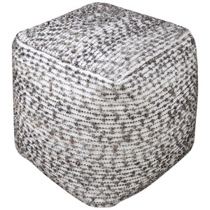 Square Cotton and Wool Pouf Ottoman – Linen