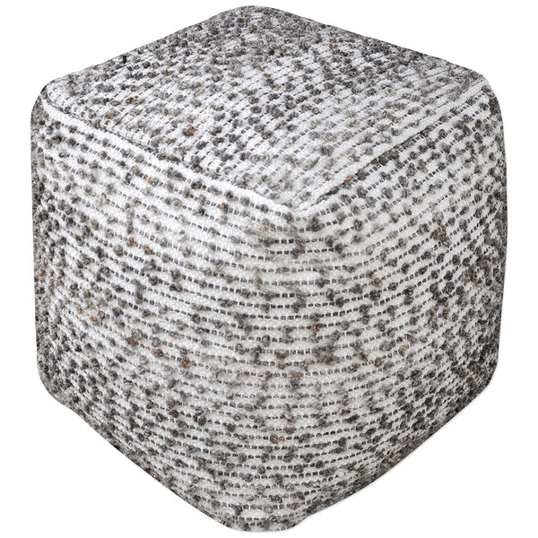 Square Cotton And Wool Pouf Ottoman Linen