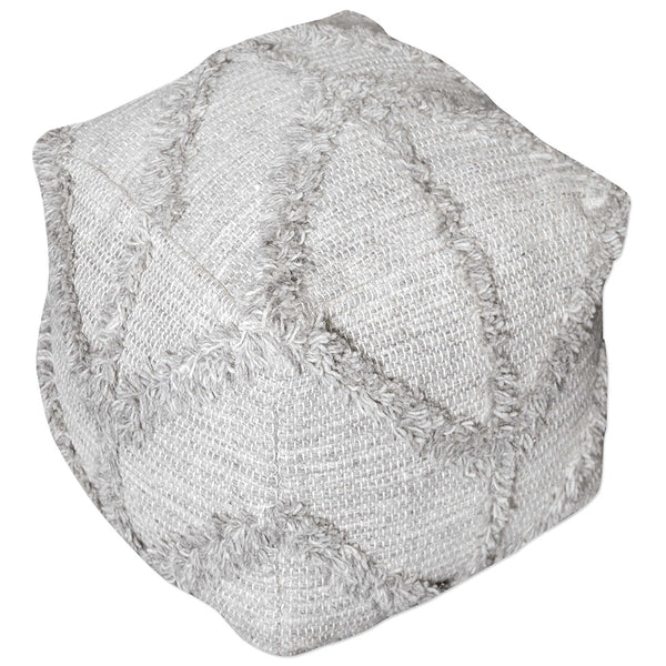 Square Gray Wool Pouf Ottoman with Geometric Fringe