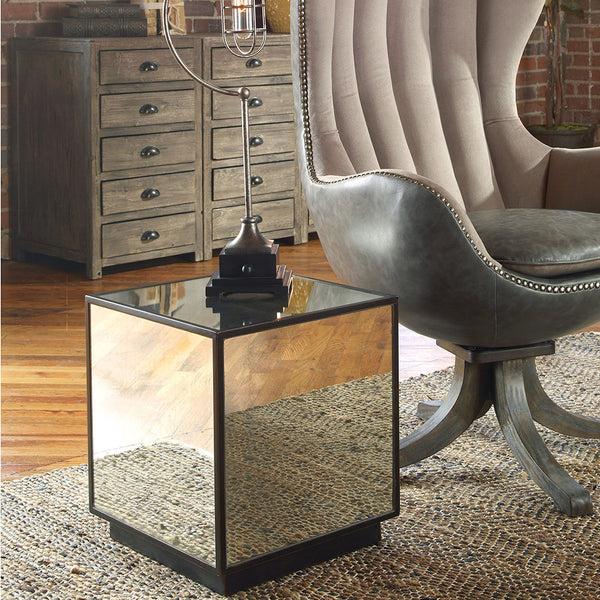 Matty Mirrored Cube End Table