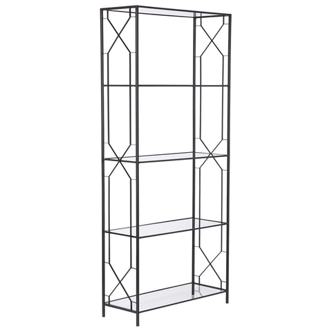 Geometric Etagere Black with Glass Shelves