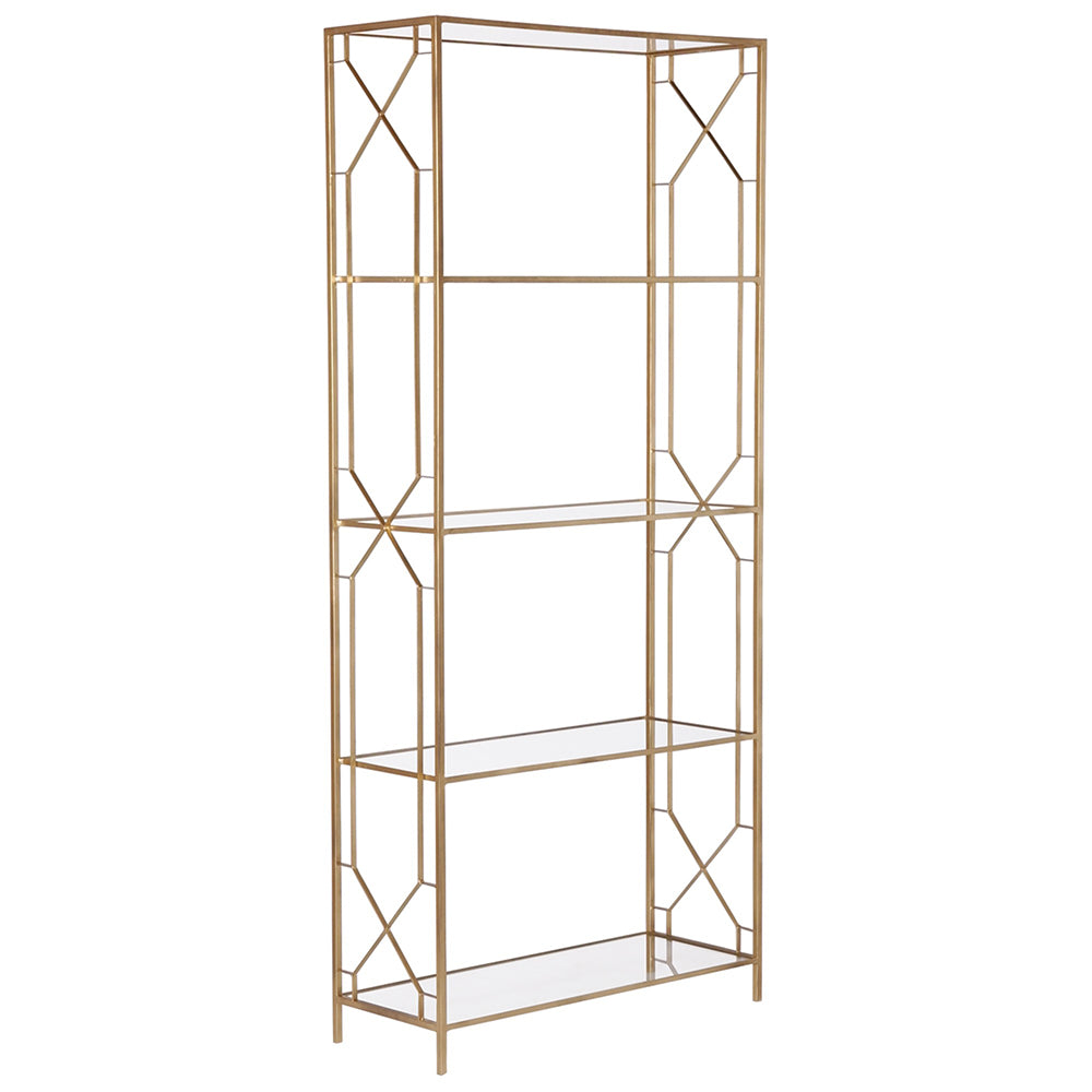 geometric etagere gold with glass shelves scenario home rh scenariohome com gold etagere with glass shelves etagere bookcase with glass shelves