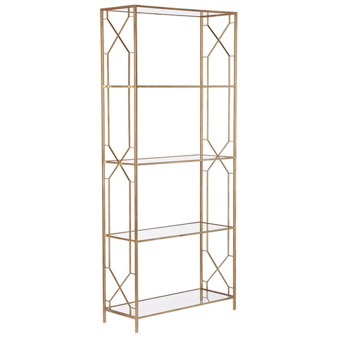 Geometric Etagere Gold with Glass Shelves