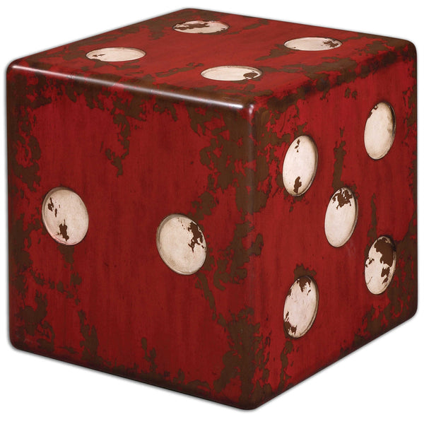 Dice Cube Side Table - Distressed Red