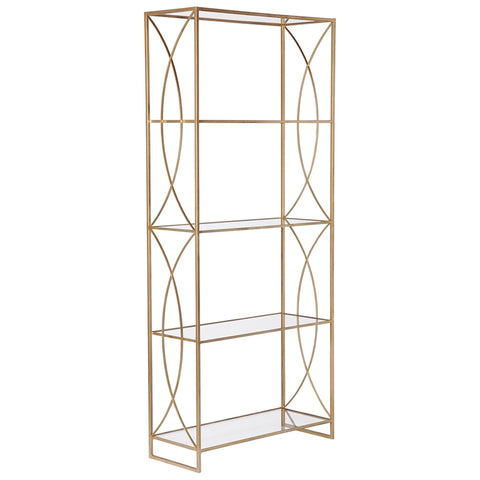 Trellis Etagere Gold with Glass Shelves