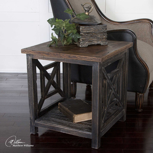 Reclaimed Wood Open Frame Side Table