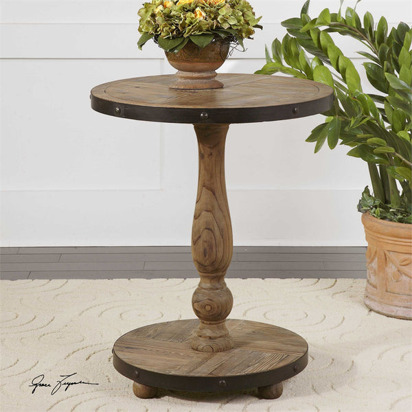 Distressed Wood Banded Side Table