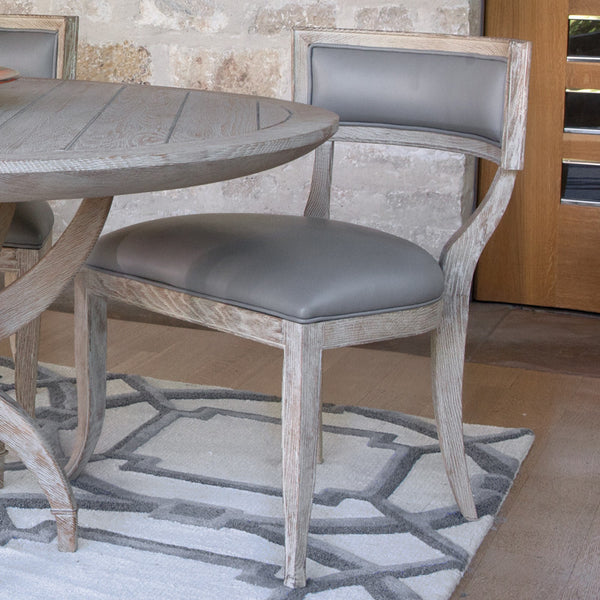 Curved Back Side Chair – Grey Leather