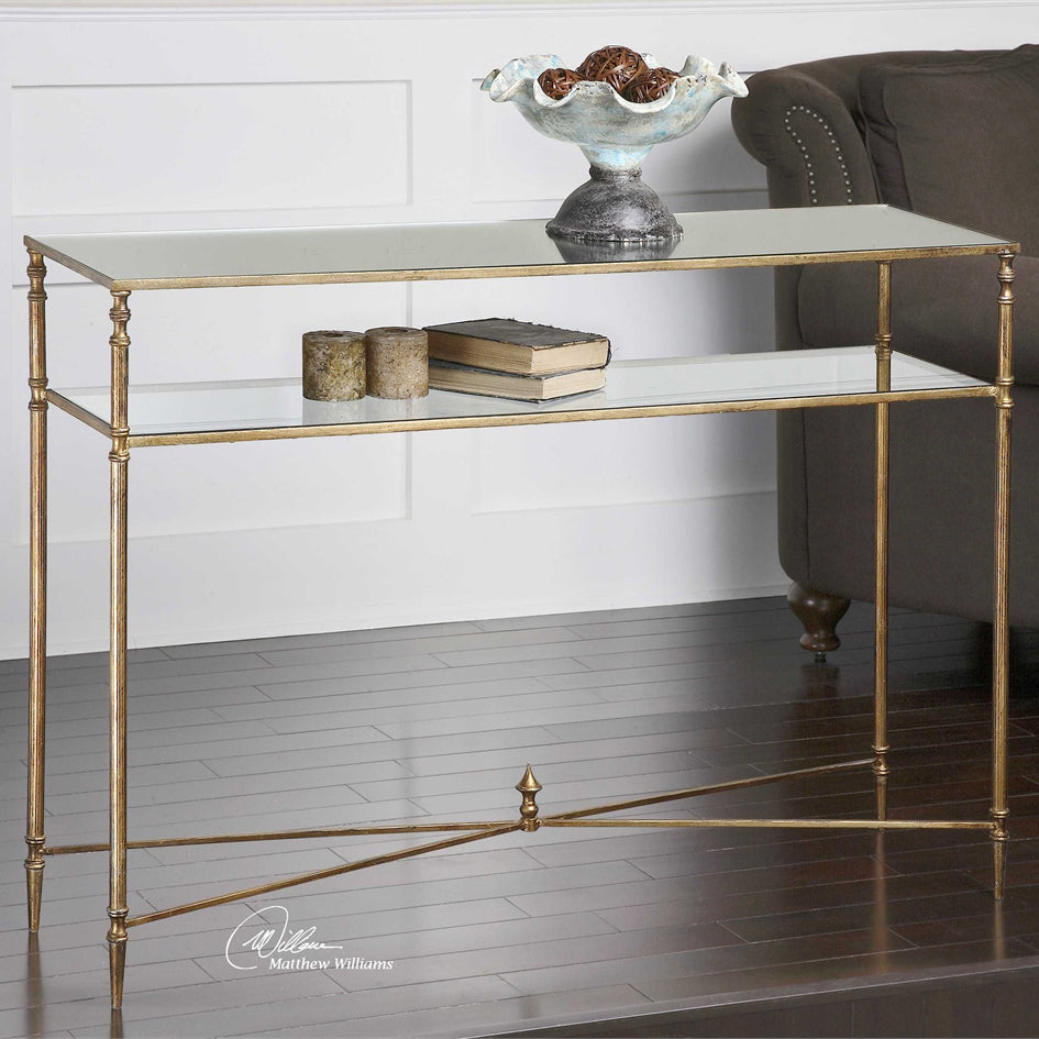 Henzler Gold Leaf & Mirror Console Table