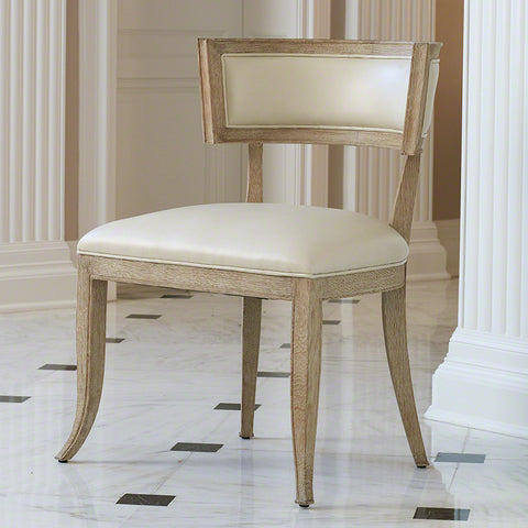 Curved Back Side Chair – Beige Leather