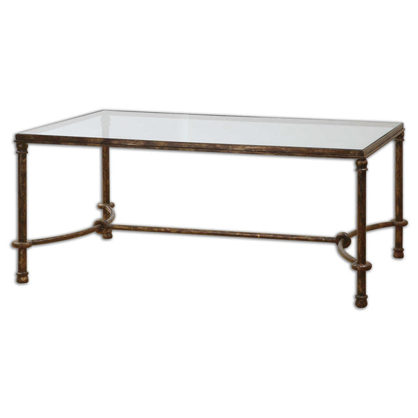 Equestrian Bronze Iron & Glass Coffee Table