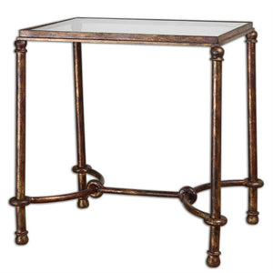 Equestrian Bronze Iron & Glass Side Table