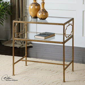 Genell Glam Gold Leaf & Glass Side Table