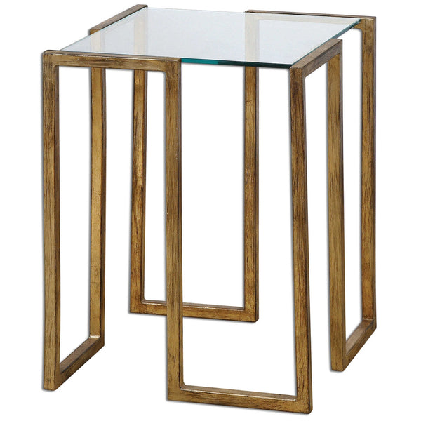 Modern Gold Side Table with Glass Top