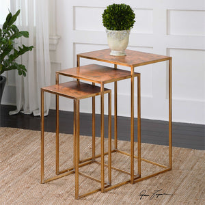 Copper Nesting Tables - Set of 3