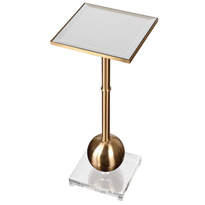 Mirror Top Accent Table -Brass